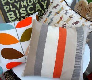 Cushion Cover John Lewis Puritan Stripe Grey Clementine