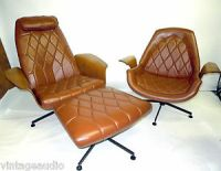 Charlton Rondo Leather Lounge Chairs Mid Century Modern ...