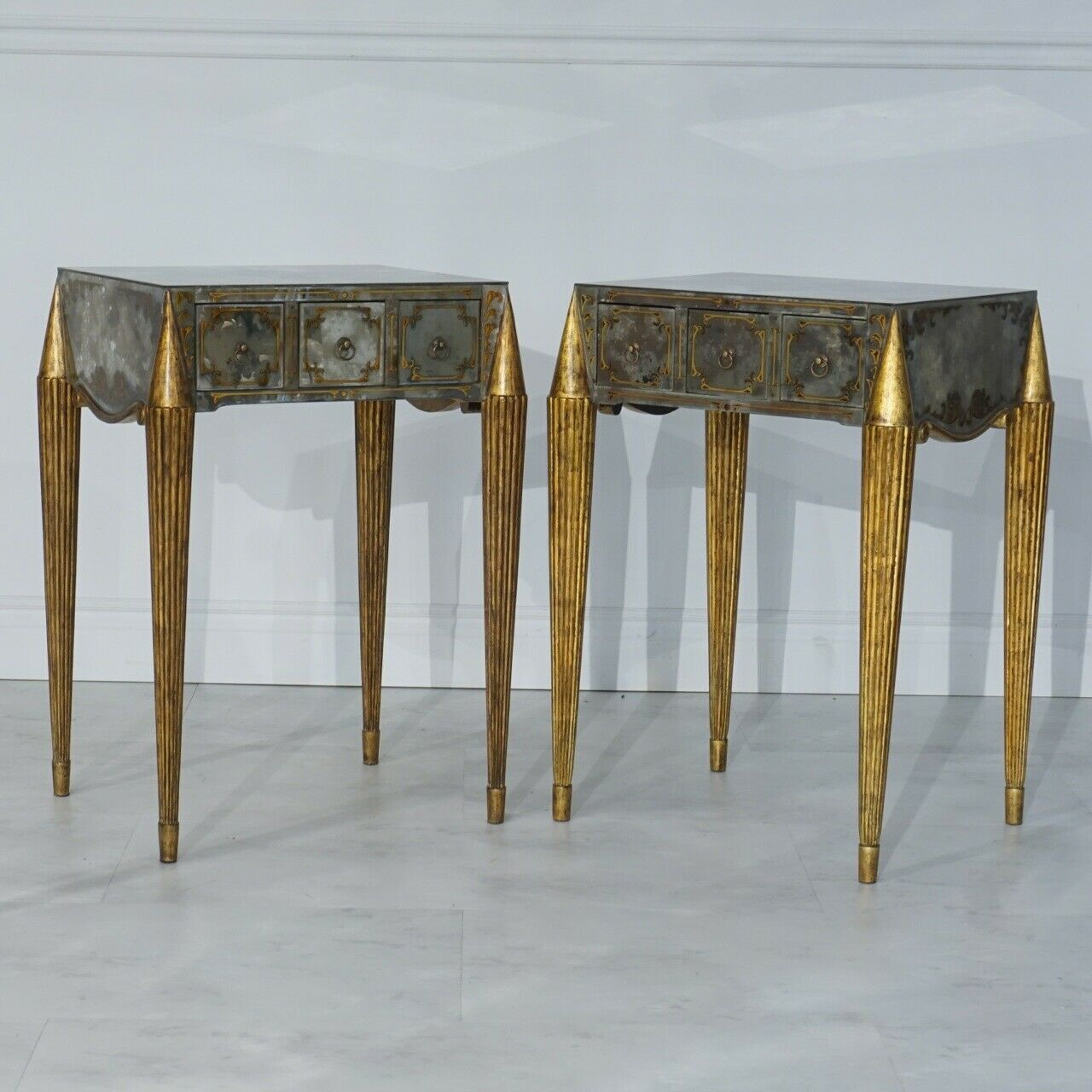 Stunning Pair Of Eglomise Glass Side Tables With Hand Painted Details Ebay