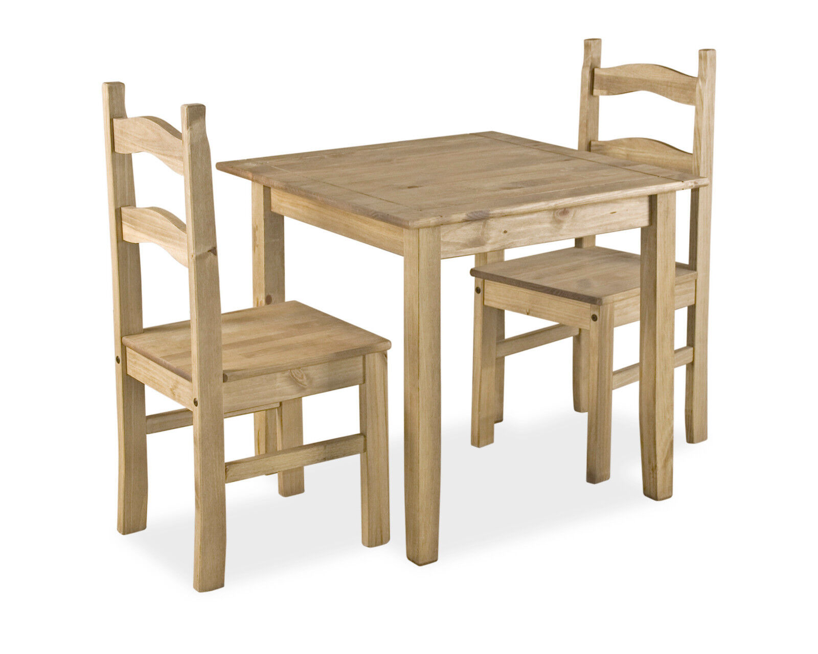Dining Room Furniture Rustic Details About Dining Kitchen Table Set Small Square Two Chairs Rustic Light Waxed Solid Pine