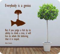 Albert Einstein Everybody is a Genius wall art quote | eBay