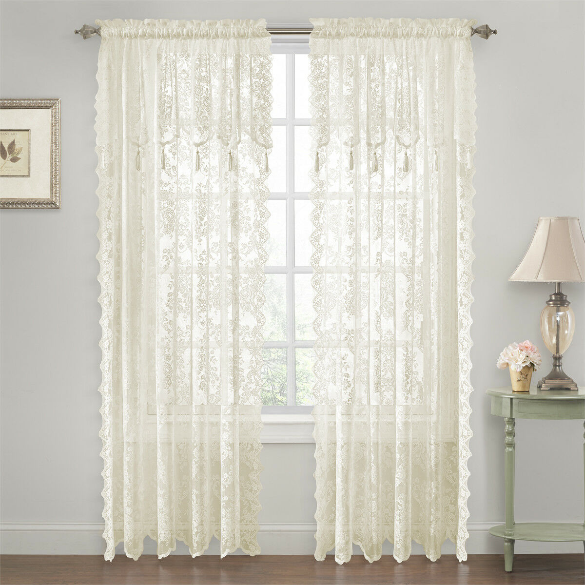Carly Lace Curtain Panel With Attached Valance With Tassels Curtains Pelmets Home Furniture Diy Plastpath Com Br