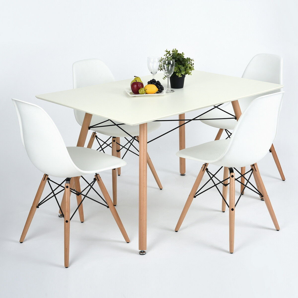 Modern Table And Chairs Details About 4 Dining Chairs With White Rectangular Dining Table Set Modern Table Chairs