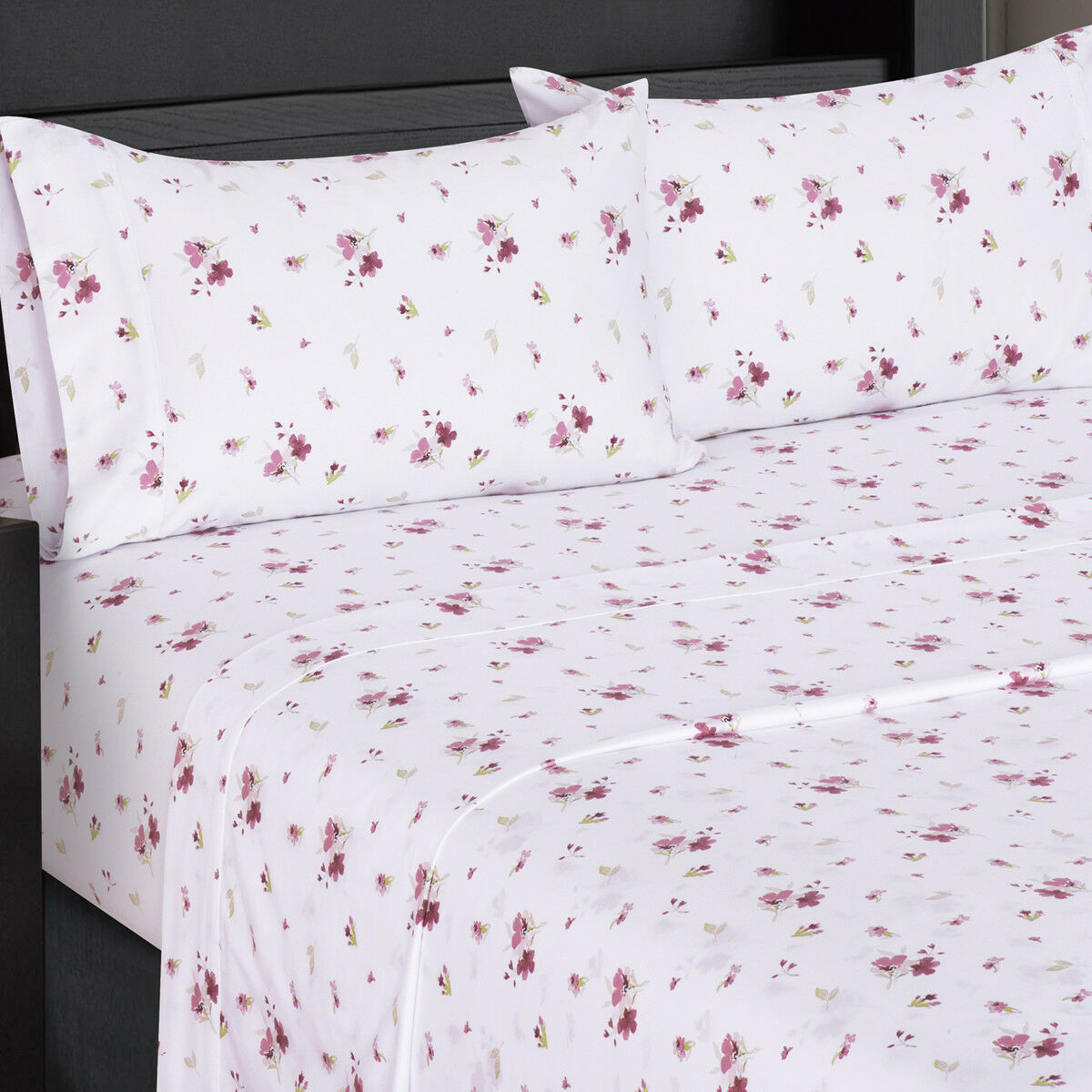 Printed Sheet Sets Zahra 300 Thread Count White Printed Bed Sheets Cotton Floral
