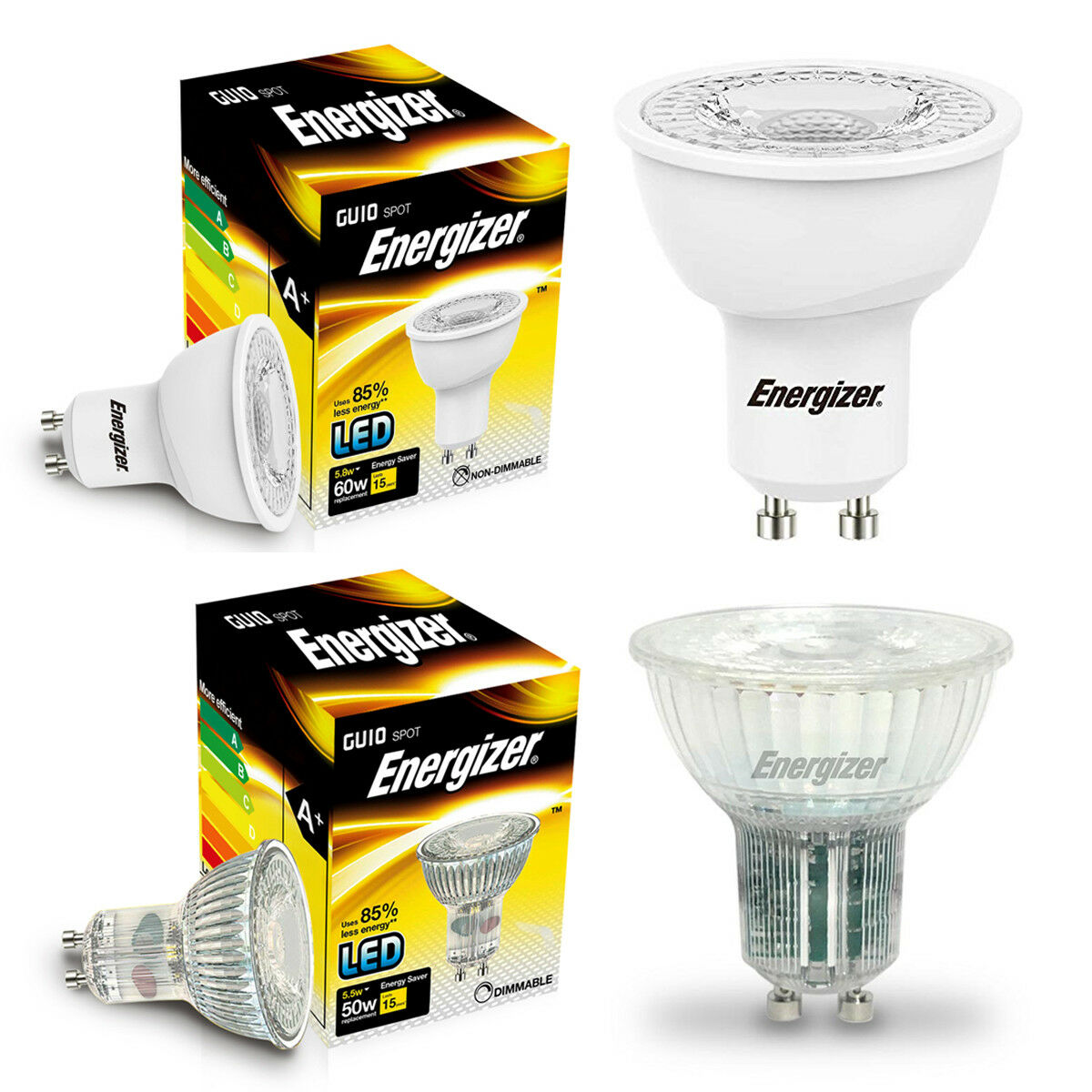 Led Gu10 5w Details About Packs Of Energizer Led Gu10 3w 35w 5w 50w Spot Lights Daylight Cool Warm White