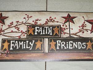 York Country Primitive Stars Berries Live Laugh Love Blocks Wallpaper Border | eBay