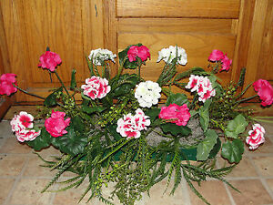 Outdoor Flowers Pink White Geraniums Greens Window Box
