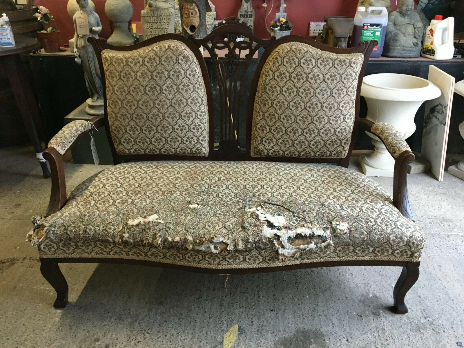 Vintage Settee Couch Dark Wood Grey Floral Fabric For Reupholstering Ebay