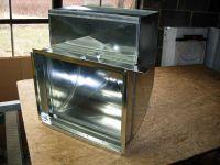 Sheet metal return air shoe, with filter rack, heating ...