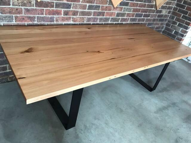 Recycled Vic Ash Timber Dining Table Black Metal Loop