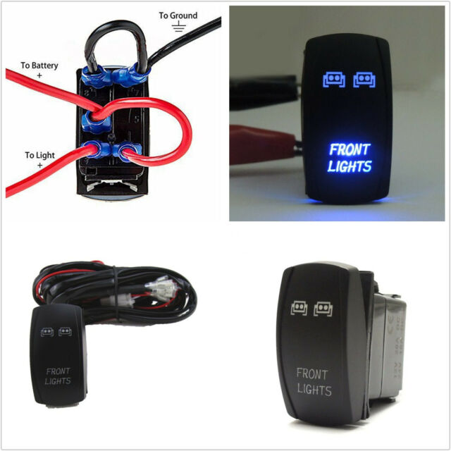 led light bar wiring harness with rocker switch