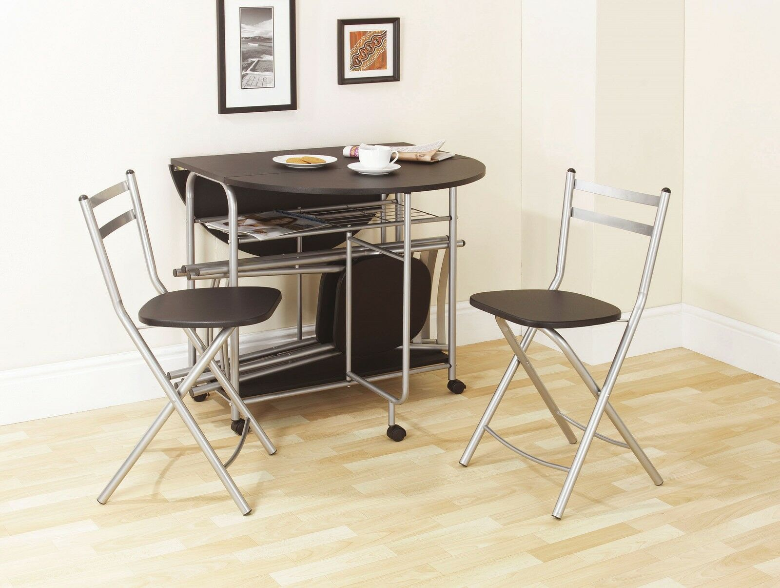 White Space Saving Table And Chairs Folding Dining Set Black Dining Table And Four Chairs