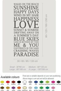 Beach Home Love Summer Art Wall Stickers Quotes Wall ...