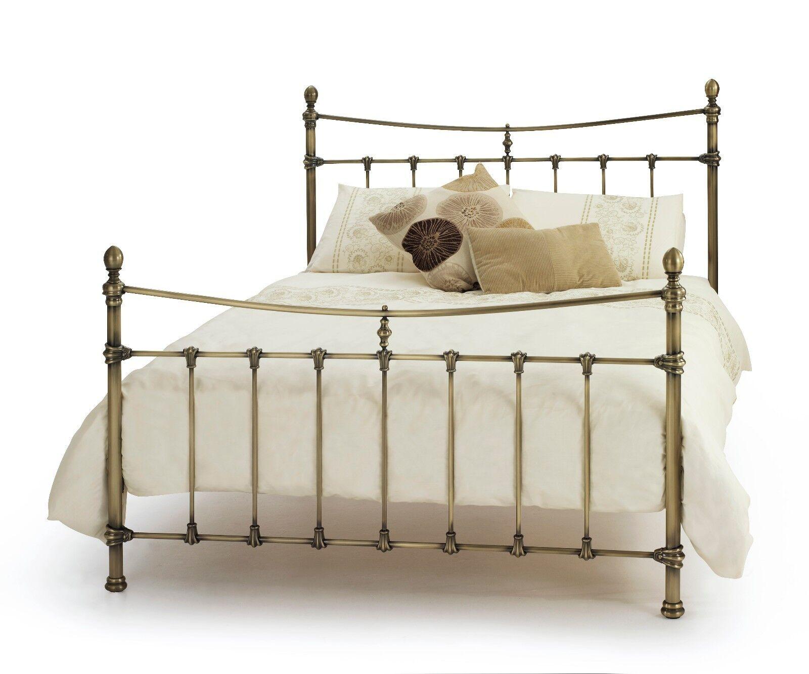 Estelle Georgian Quality Metal Bed Frame In Antique Brass