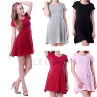 Womens-Casual-Short-Sleeve-Soft-Flowing-Mini-Skirt-Dress ...