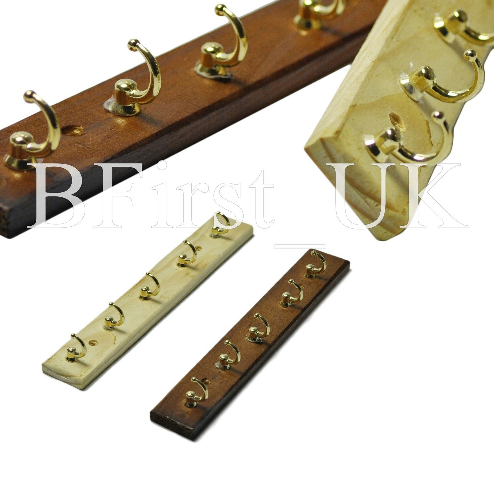 Wooden Key Holder With Shelf Wooden Wall Mounted 5 Brass Plated Hook Rack Car House Key
