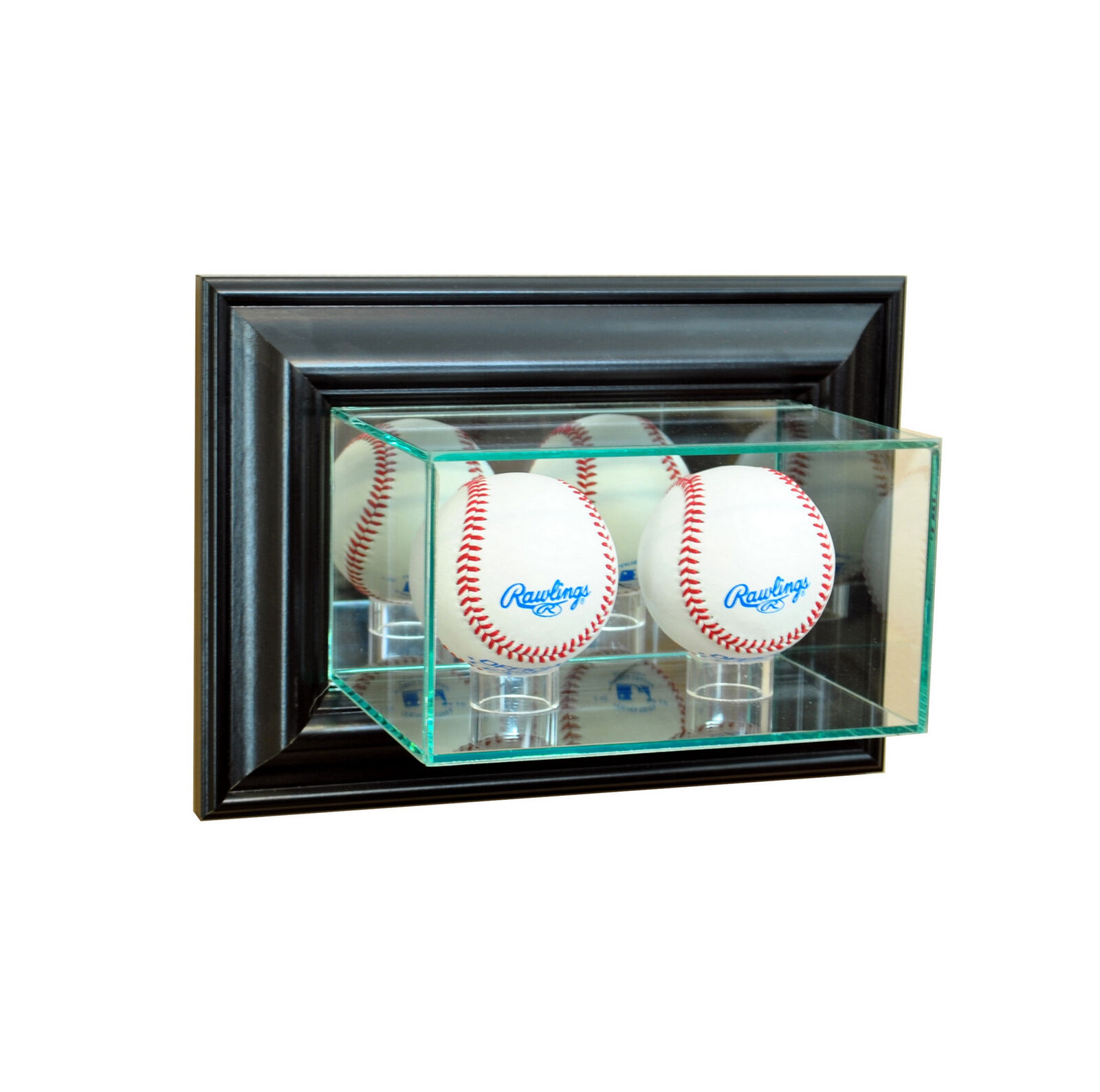 Wall Mounted Display Case Details About Wall Mount Glass Double Baseball Display Case Uv Protection Black Wood Mirror