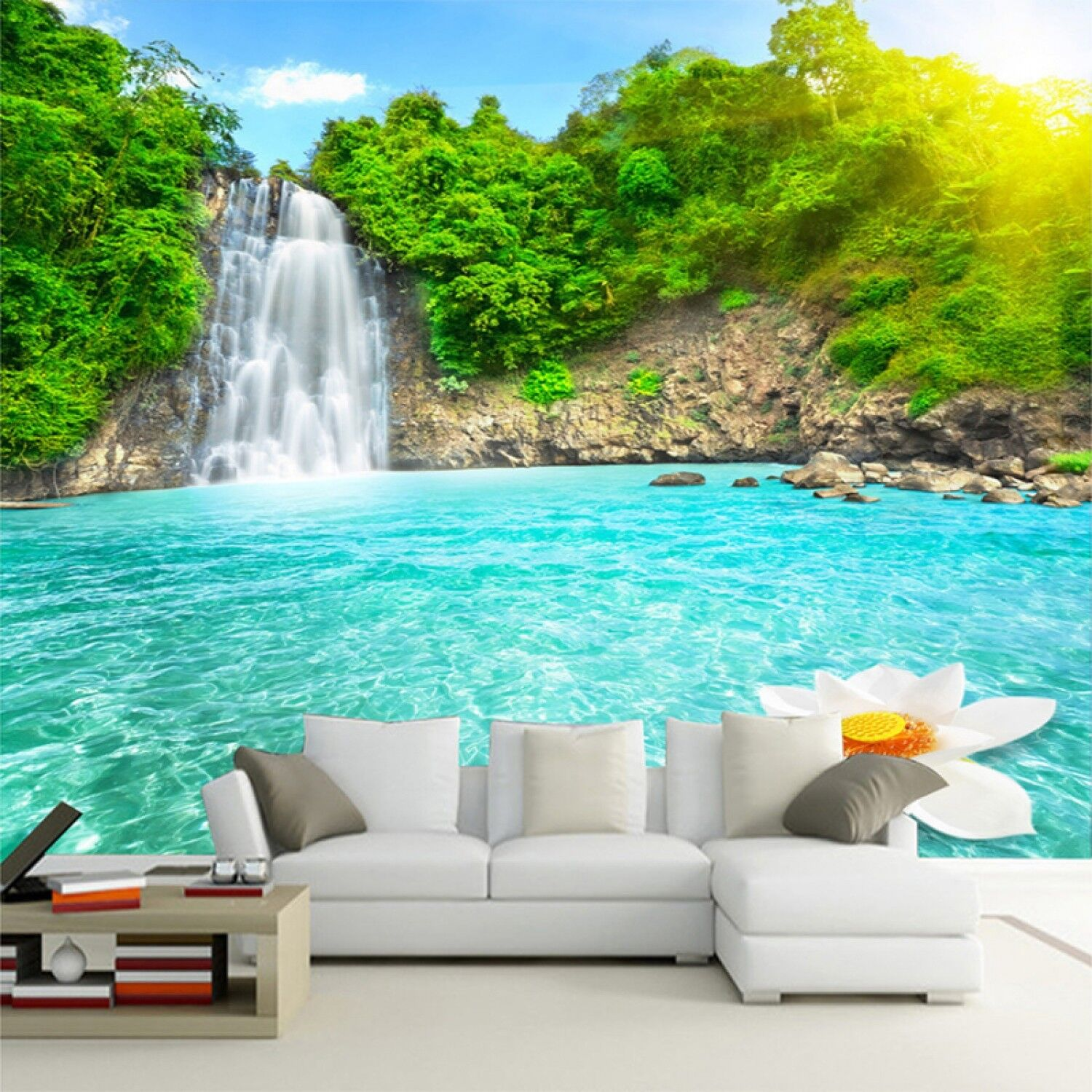 Scenary Wallpaper Details About Natural Scenery 3d Wall Mural Forest Waterfalls Pools Photo Wallpaper 3d Room