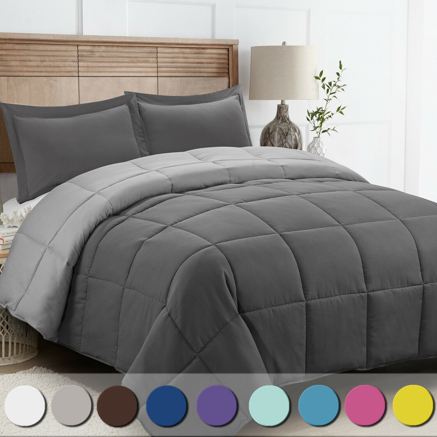 Homelike Moment Lightweight Comforter Set Queen Gray Solid Down Alternative Set For Sale Online Ebay