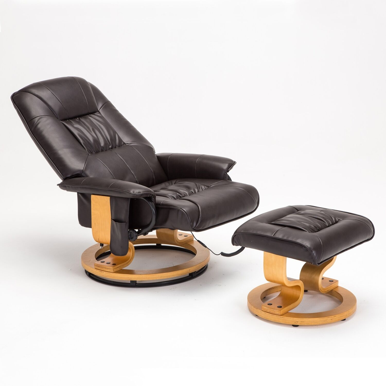 Chair Leather Reclining Swivel Details About Bonded Leather Massage Chair Leisure Recliner Swivel Armchair W Ottoman Brown