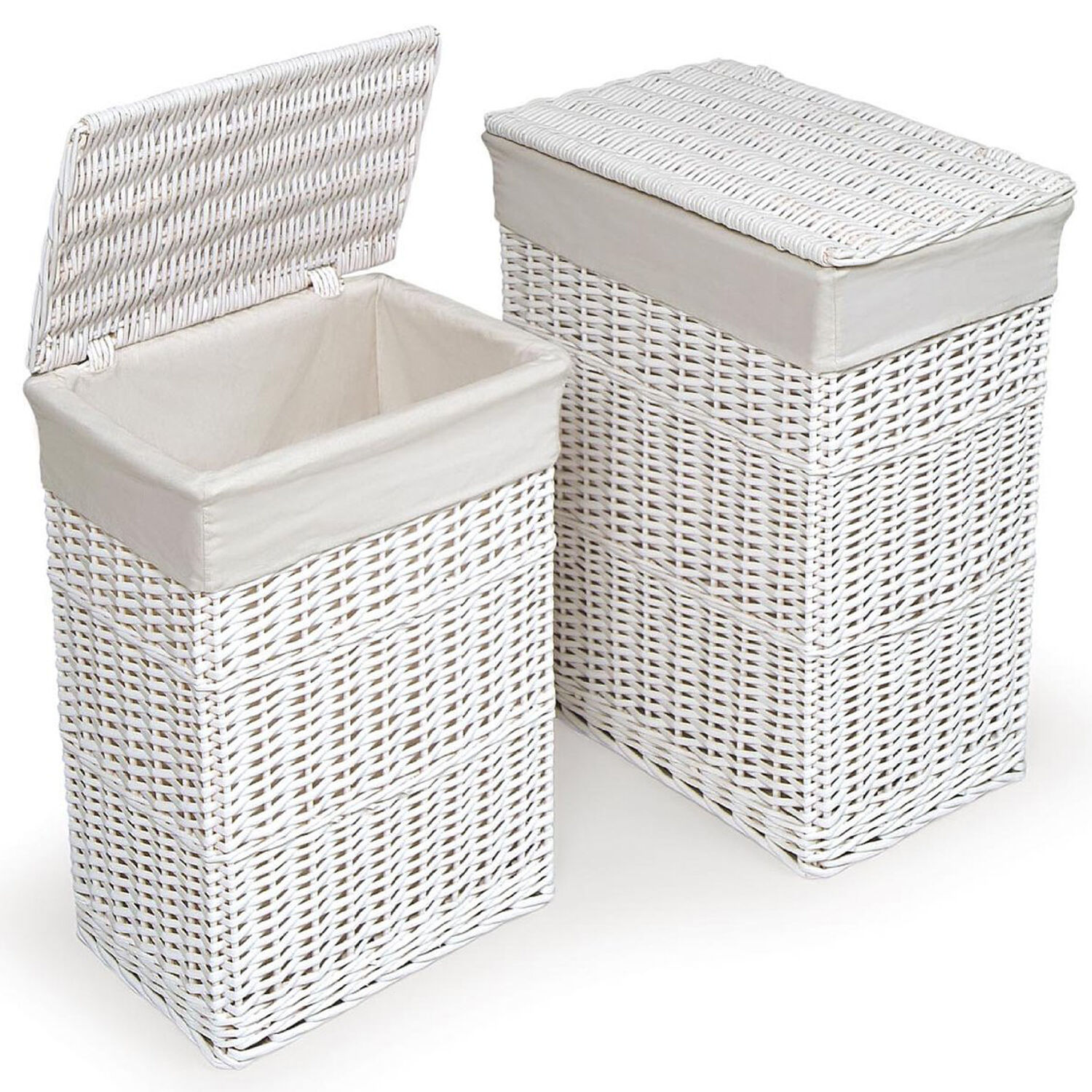 White Laundry Hamper With Lid Large Medium Rectangular White Wicker Laundry Basket W