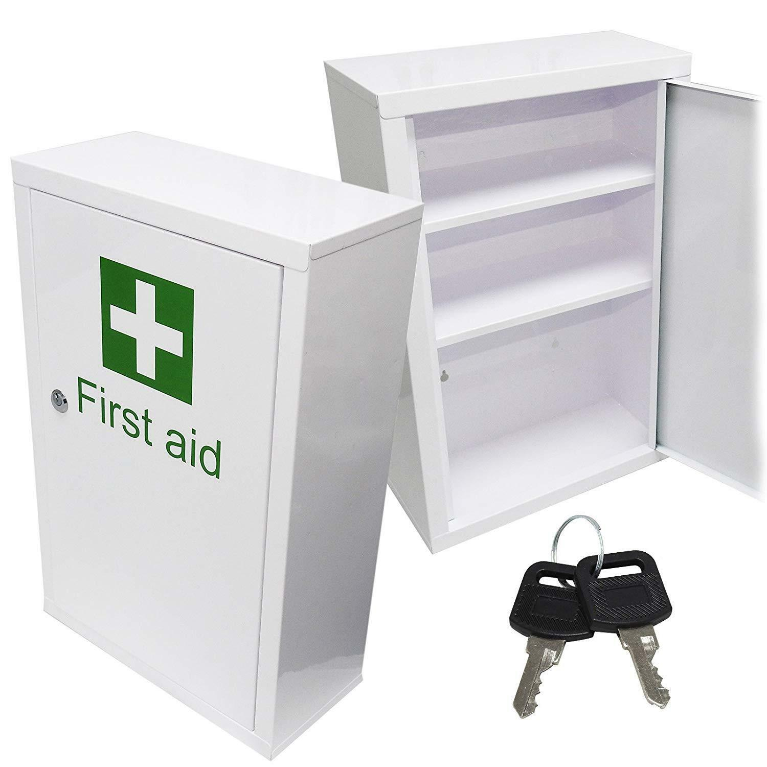 Metal Wall Cabinets Details About Large Medicine Cabinet First Aid Metal Wall Mount Cabinet Cupboard Locker Keys