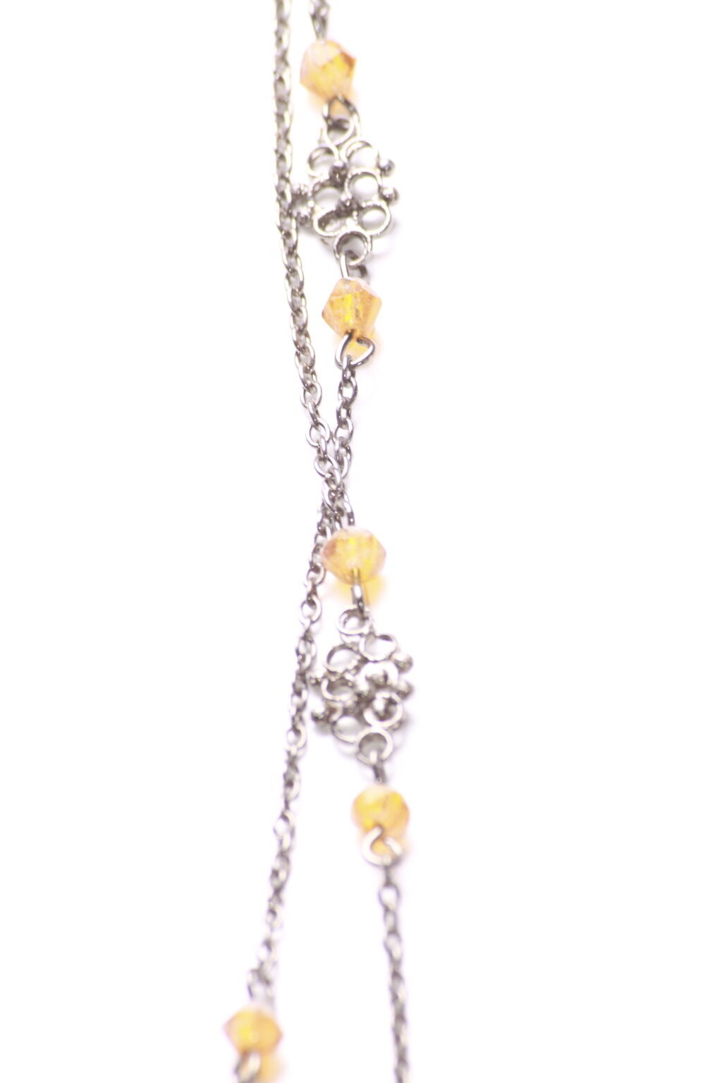 Modeschmuck Zx179 Gorgeous Rustic Chrome Yellow Crystal Beads Long Metal Necklace Dailyrasta