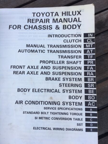 Hilux Workshop manual Other Parts  Accessories Gumtree