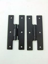 "H Hinges Cabinet Door Furniture Hinge Forge Iron 4"" Black ..."