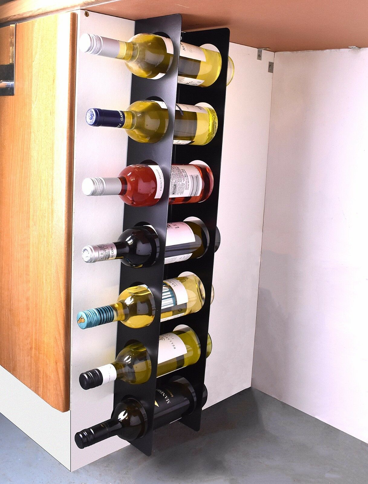 Kitchen Wine Rack Wall Cabinet Mounted Steel Narrow Wine Rack 7 Bottle
