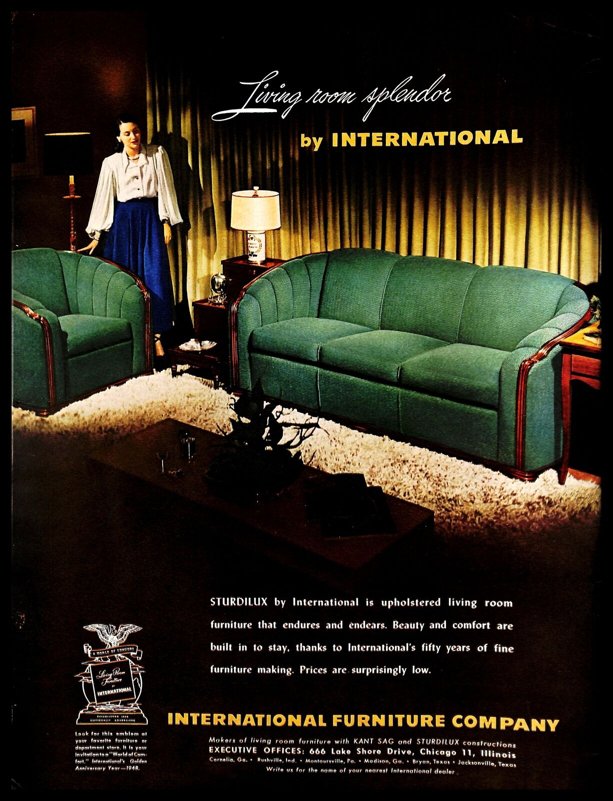 1948 International Furniture Company Sturdilux Vintage Print Ad Living Room 40s Ebay