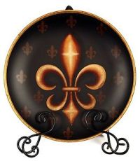 Elegant Fleur de Lis Black Color Ceramic Decorative Plates ...