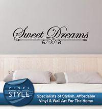 SWEET DREAMS ROMANCE BEDROOM DECOR QUOTE STICKER WALL ART ...