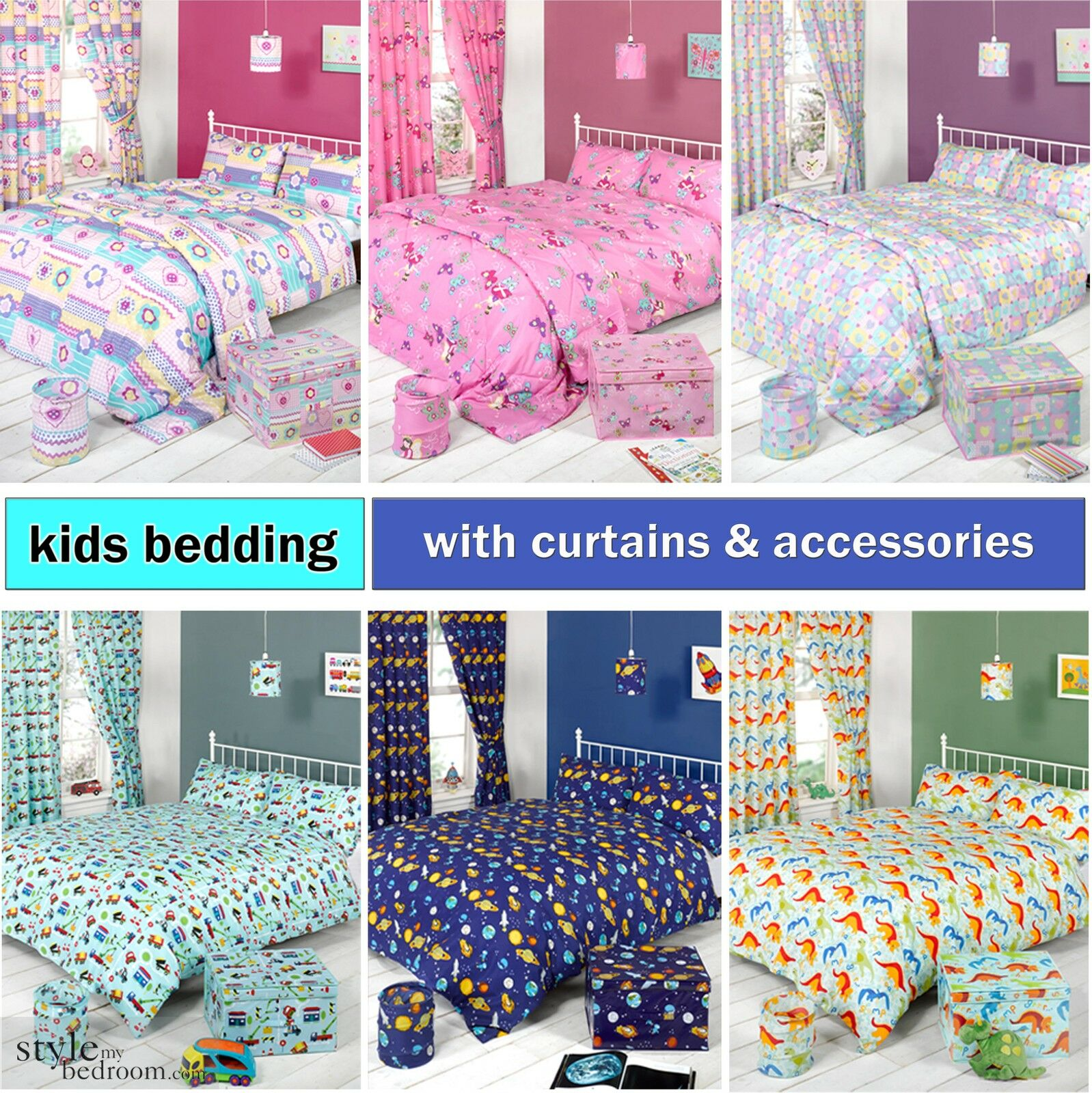Kids Bed Accessories Kids Childrens Duvet Quilt Cover Bedding Set 43 Matching