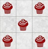 16 CUPCAKE tile cake stickers BATHROOM WALL ART DECOR ...