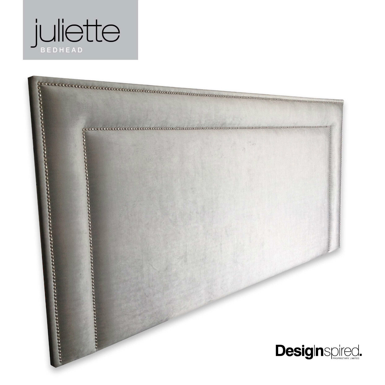 Headboard For Ensemble Juliette Chrome Stud Upholstered Bedhead For Queen Size