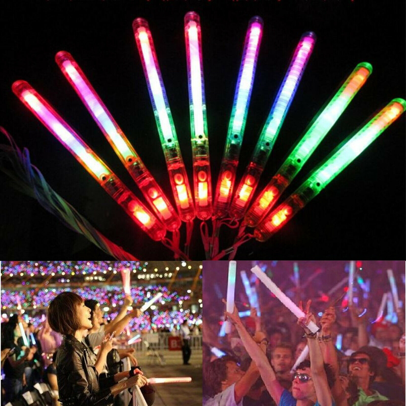 Led Glow Sticks Details About 30pcs Led Glow Flashing Wand Rainbow Light Up Sticks Party Concert Prom Blinking