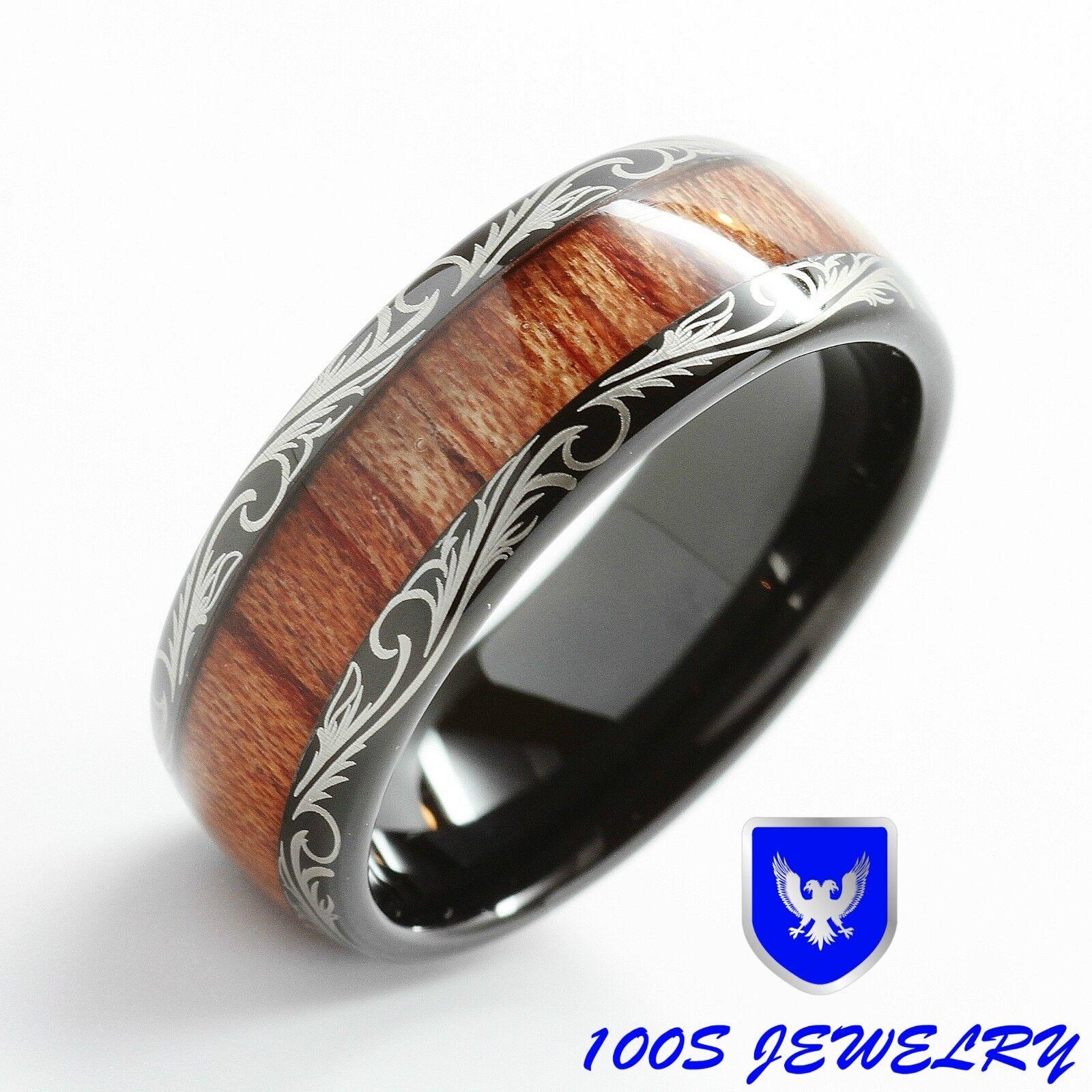 wood mens wedding bands Mens Women Wedding Band Black Tungsten Ring Koa Wood Inlay Comfort Fit Size 6 16