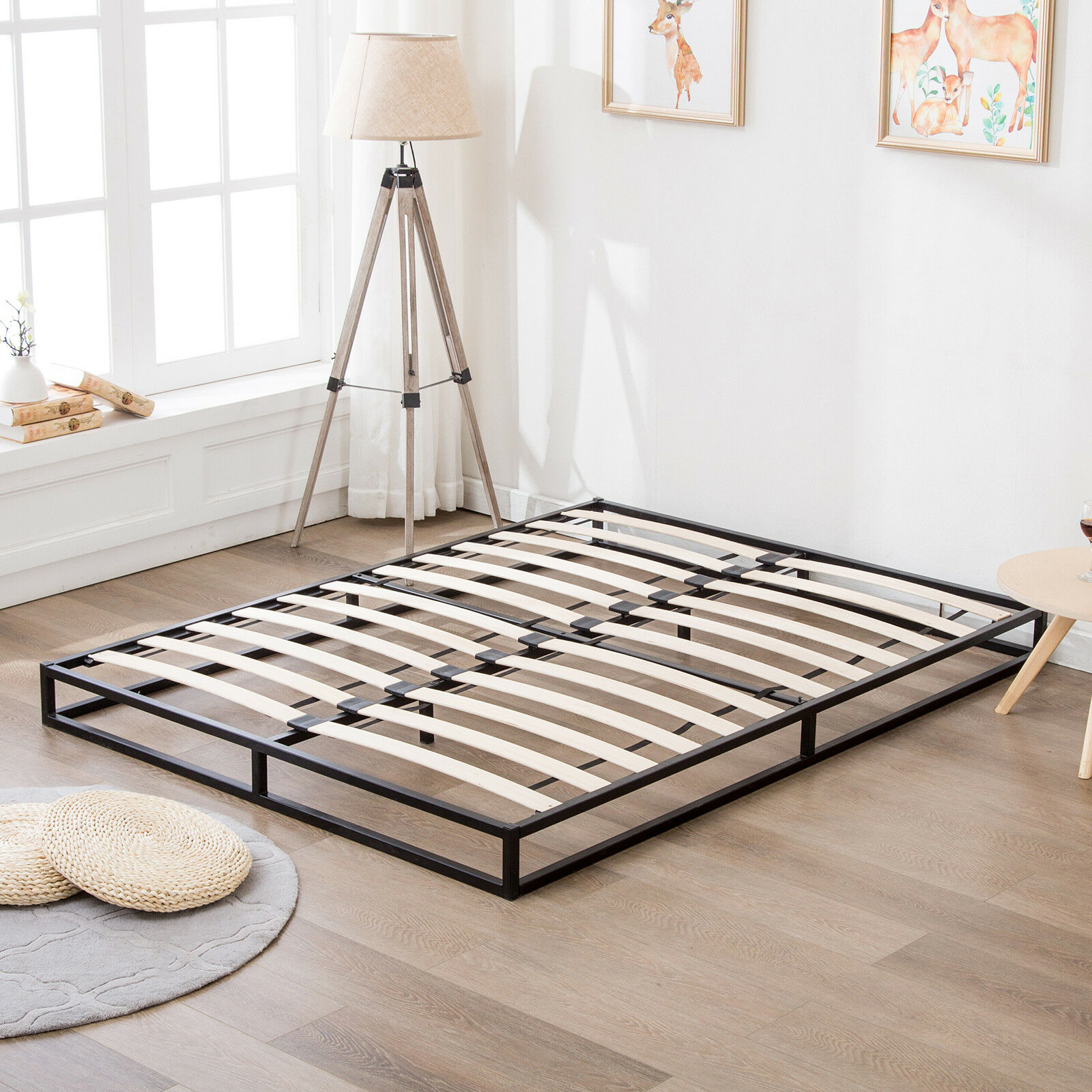 Mattress Platform Details About King Size Metal Bed Frame Platform W Wood Slats Mattress Foundation Bedroom