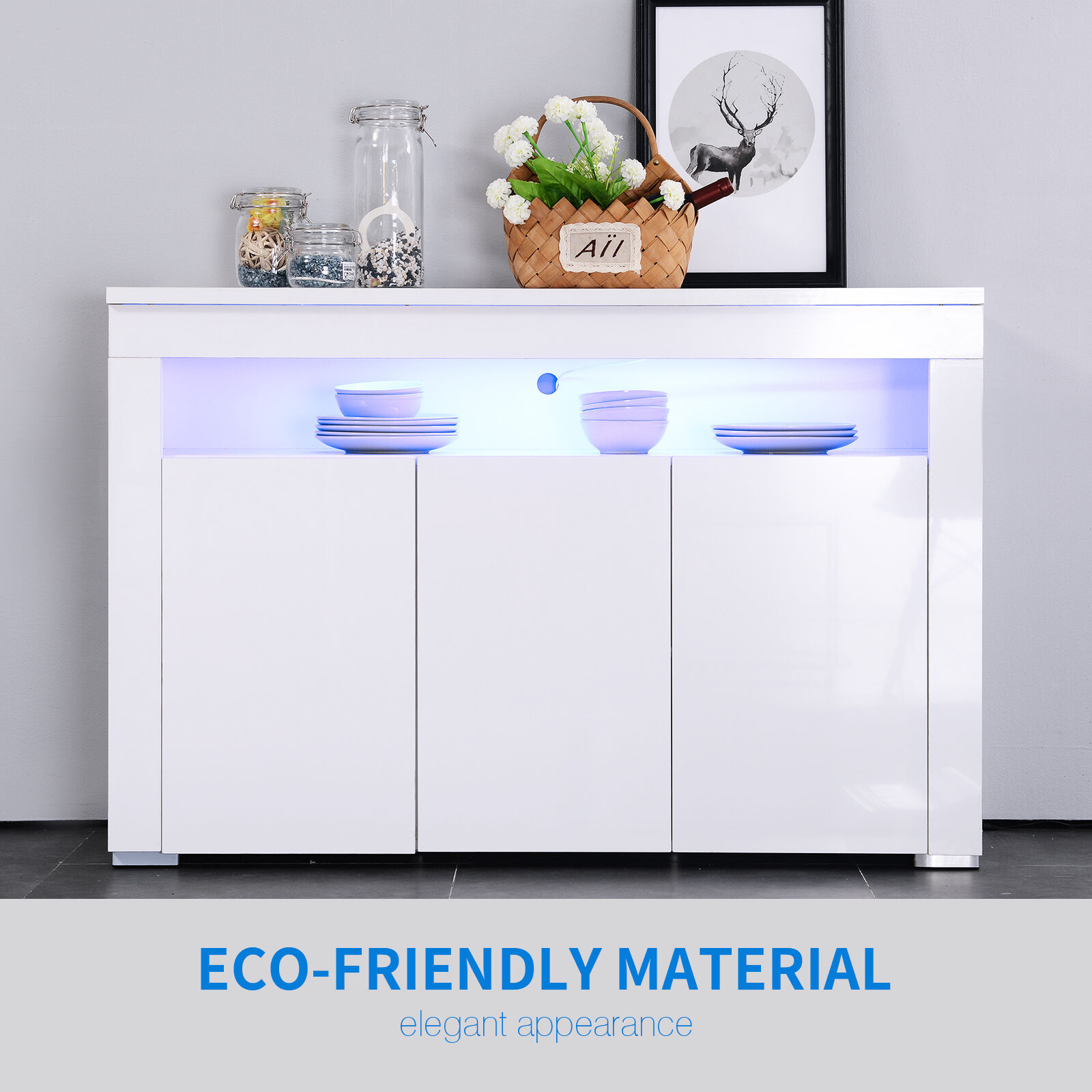 Buffet Led But New White Modern Sideboard Cabinet Unit With Led Cupboard