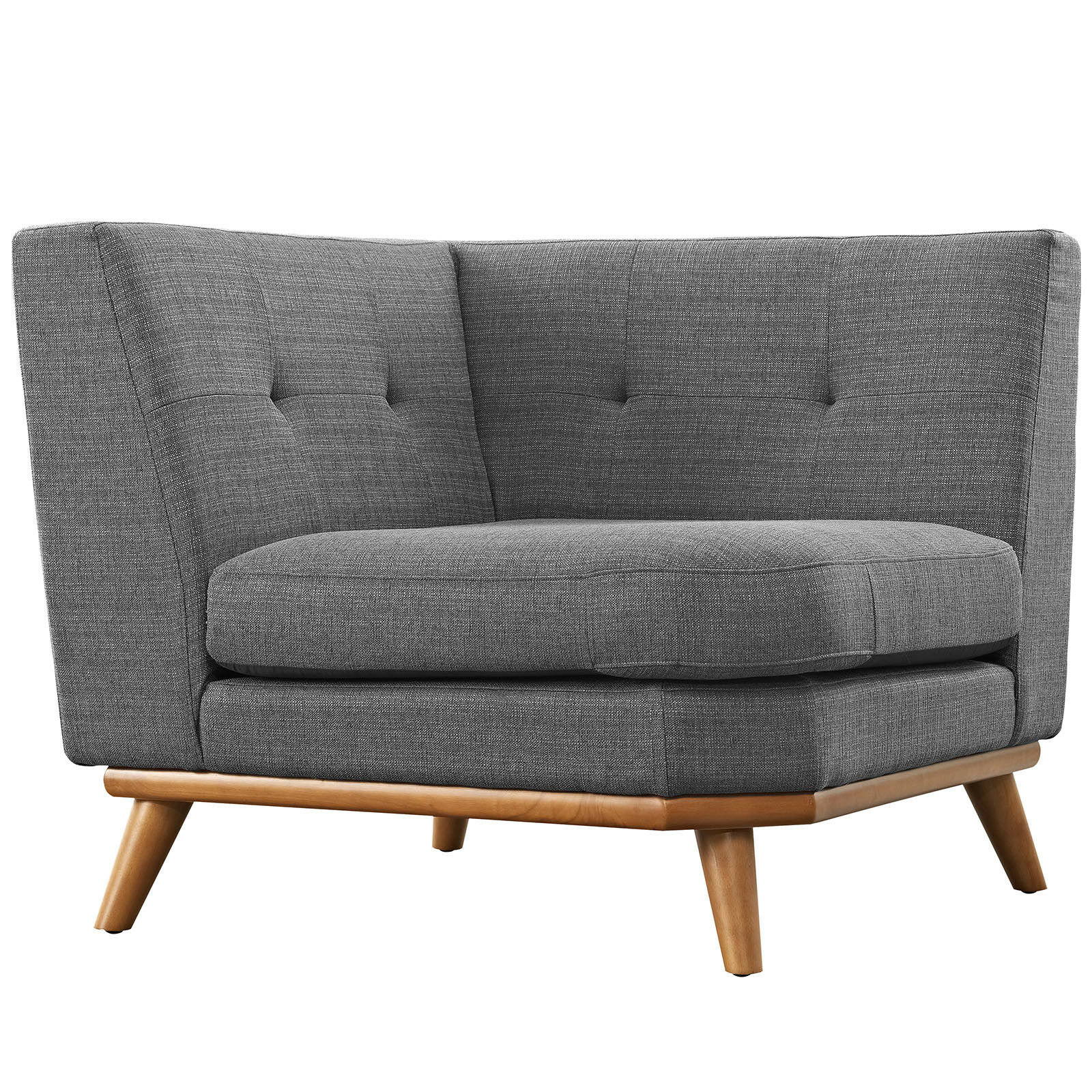 Modway Engage Mid Century Modern Upholstered Fabric Corner Sofa In Gray Ebay