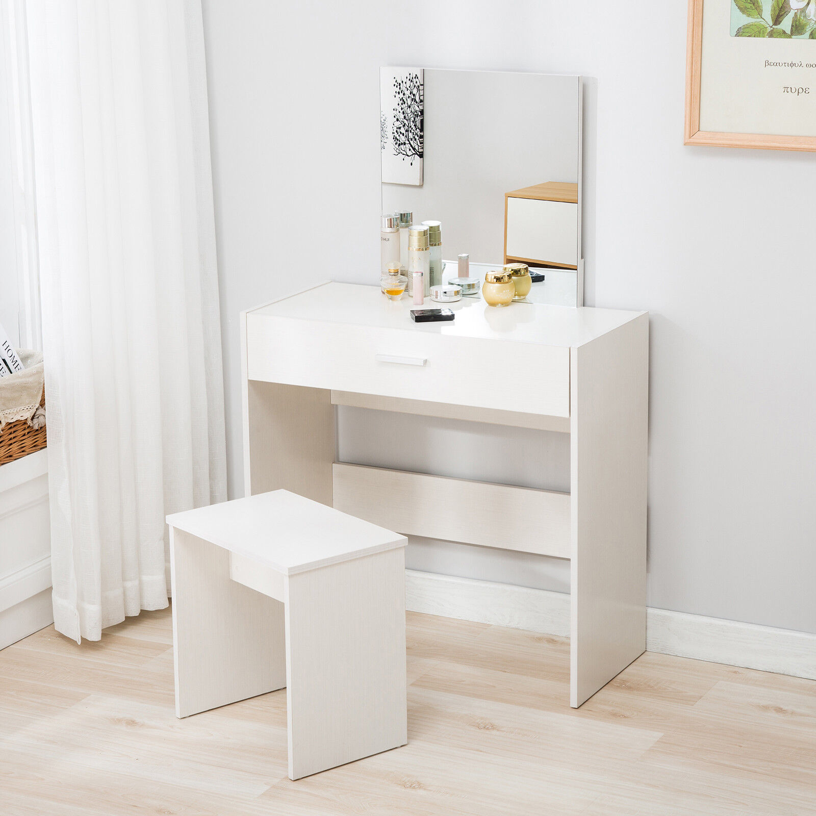 White Dressing Table Mirror Vanity White Makeup Desk Dressing Table With Rectangle