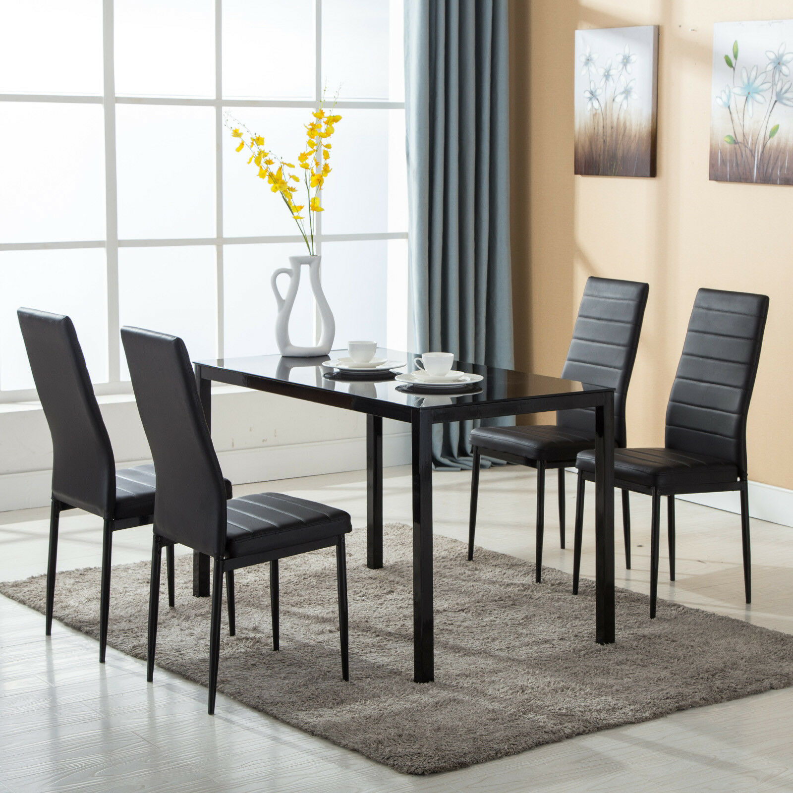 Breakfast Chairs Details About 5 Piece Dining Table Set 4 Chairs Glass Metal Kitchen Room Breakfast Furniture