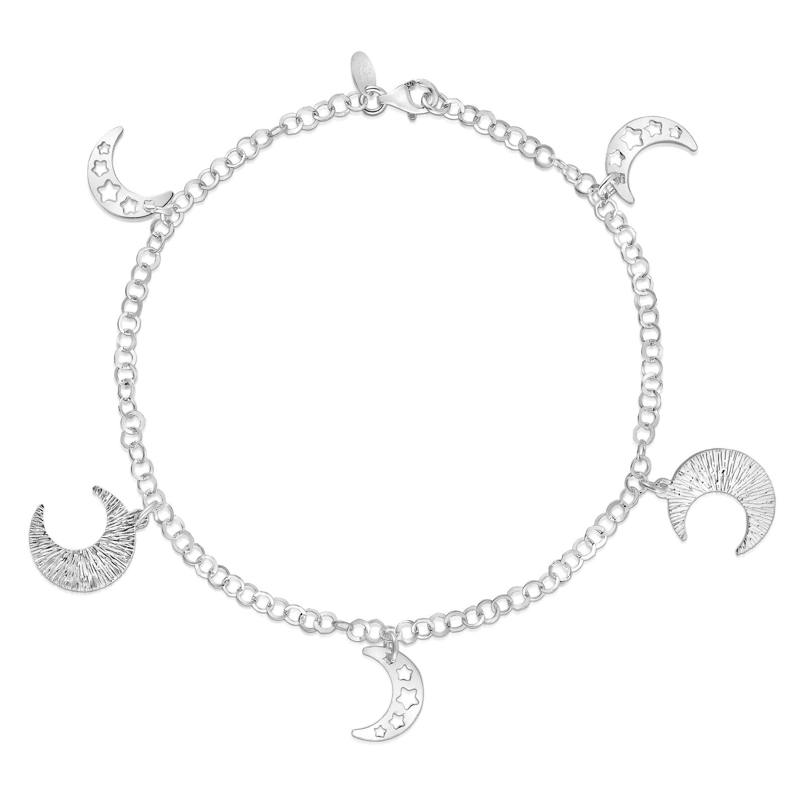Italy Design Jewelry Details About 925 Sterling Silver Moon And Stars Design Anklet Stamped 925 Italy