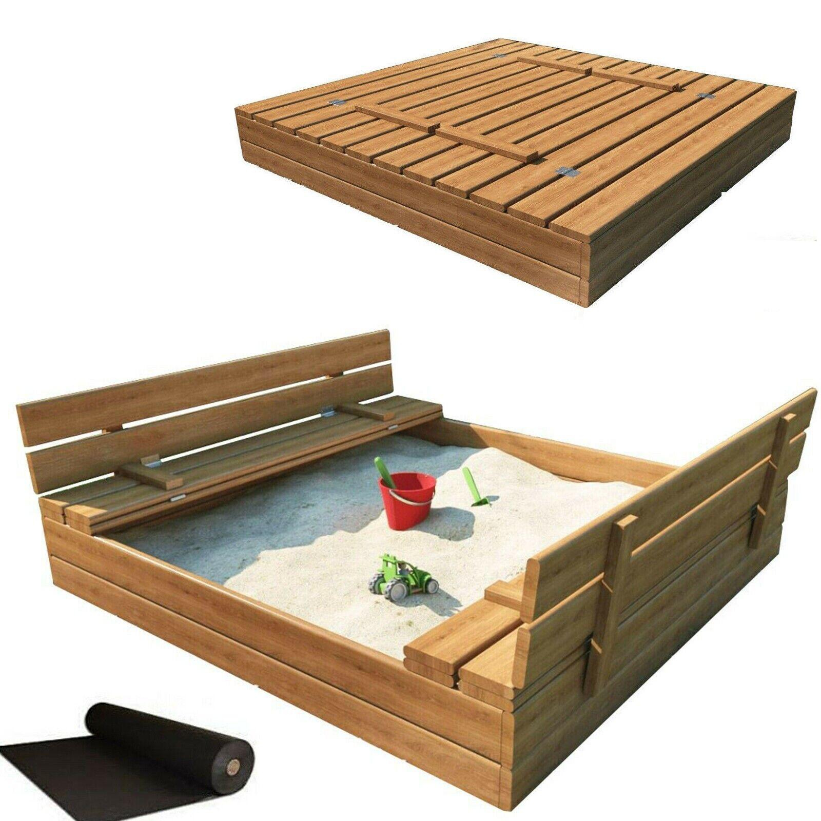 Holz Sandkasten Mit Dach Abdeckung Sandkiste Sitzbank