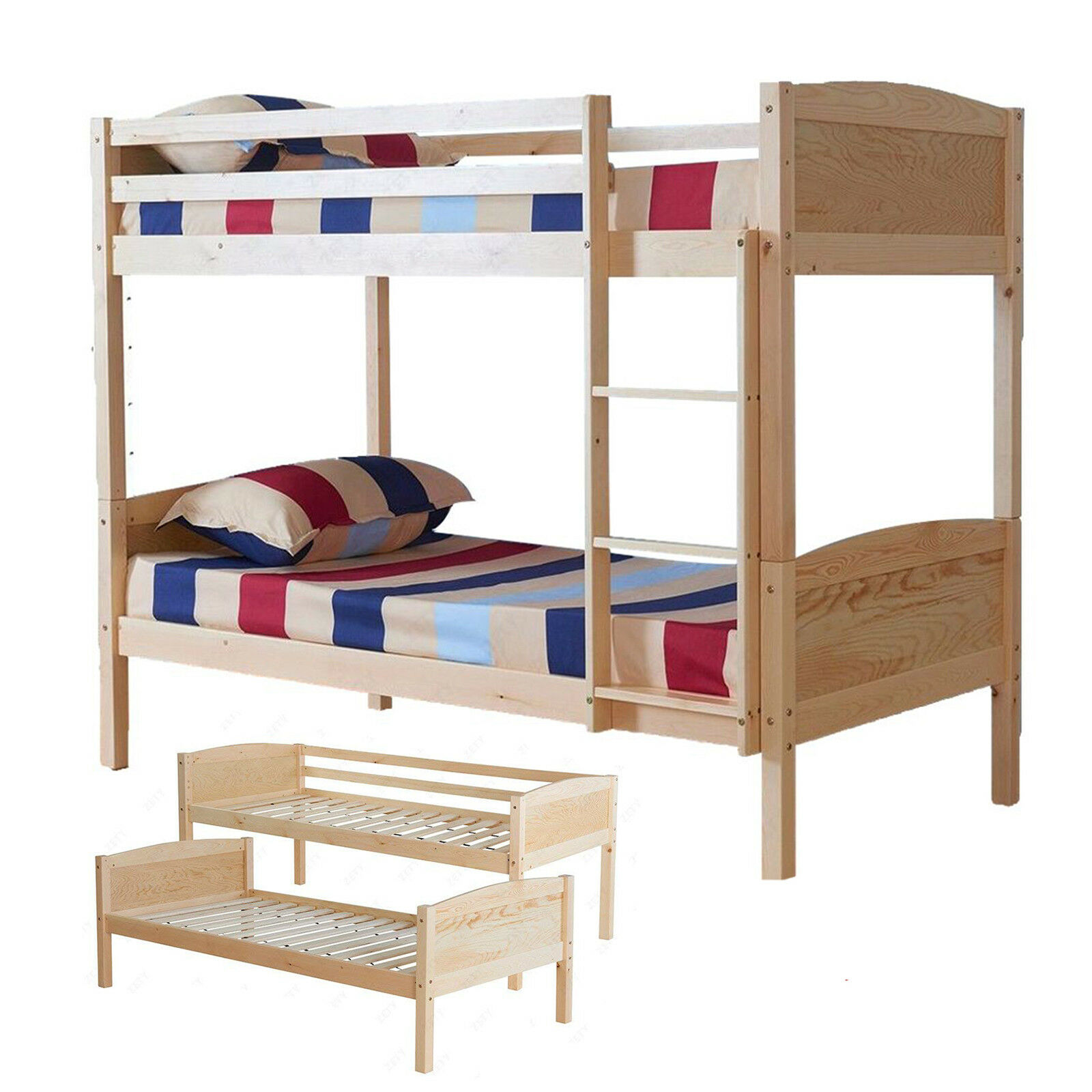Z Beds For Adults Details About 3ft Single Pine Wood Bunk Bed Frame Separate Into 2 Single Beds For Kids Adults