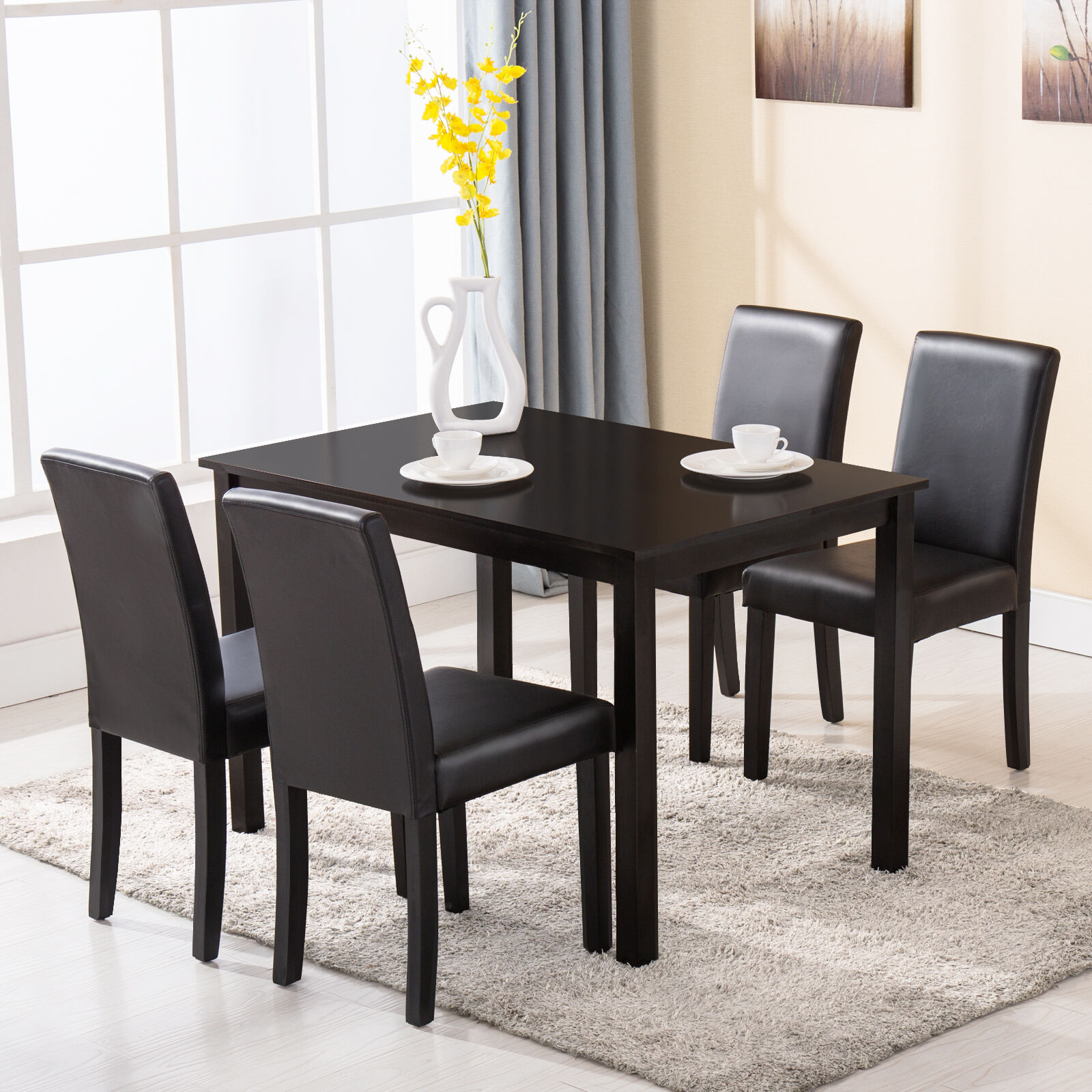 Breakfast Chairs Details About 5 Piece Dining Table Set 4 Chairs Wood Kitchen Dinette Room Breakfast Furniture