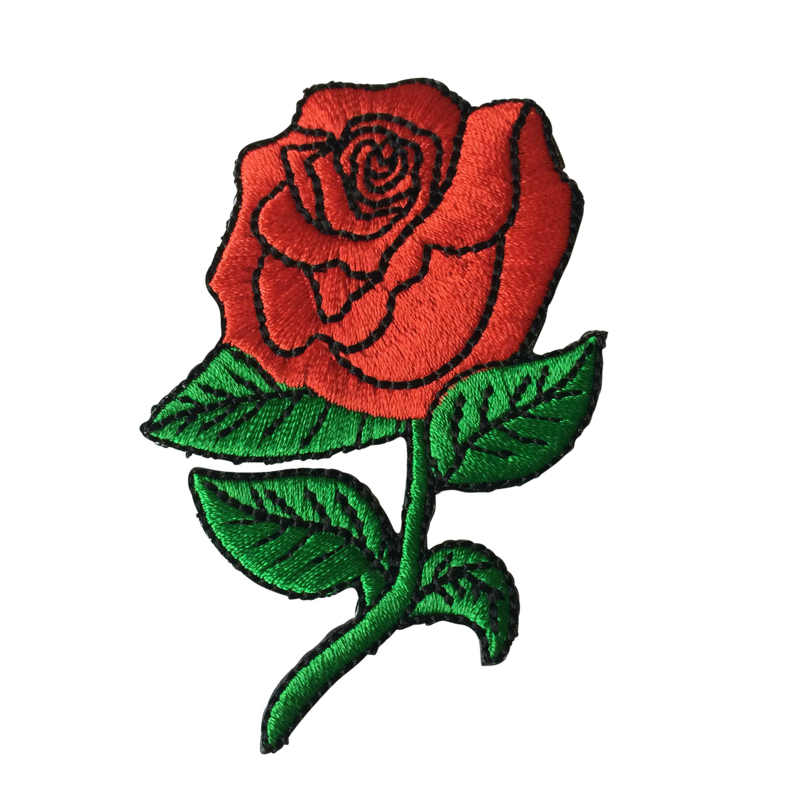 Iron On Embroidered Red Rose Sew Or Iron On Patch Biker Patch Ebay
