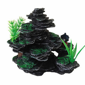 Aquarium Fish Tank Ornament Decoration Small Rocks with Plastic Plants