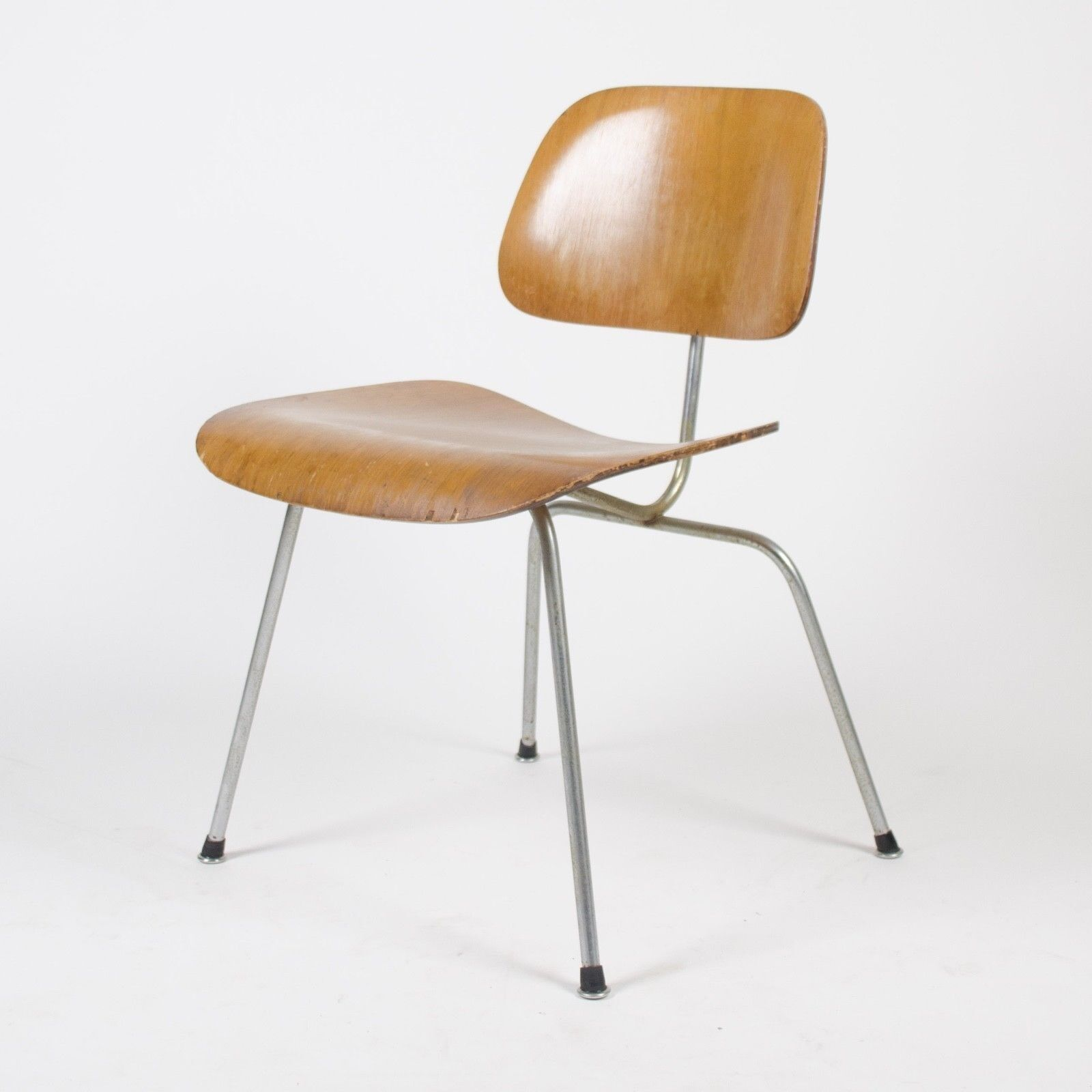 Eames Chair Herman Miller Ebay Details About Eames Herman Miller 1954 Dcm Dining Chair Calico Ash Boot Glides